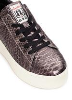 'Cult' snake effect metallic leather platform sneakers