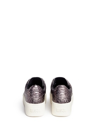 Back View - Click To Enlarge - Ash - 'Cult' snake effect metallic leather platform sneakers