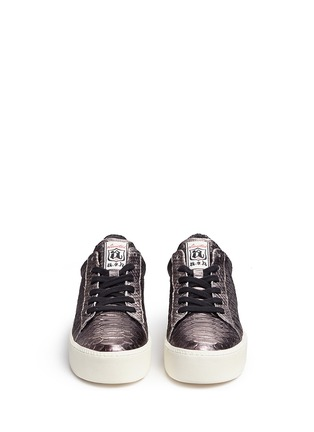 Front View - Click To Enlarge - Ash - 'Cult' snake effect metallic leather platform sneakers