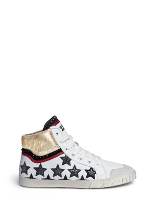 Main View - Click To Enlarge - Ash - 'Mikado' star appliqué metallic trim leather sneakers