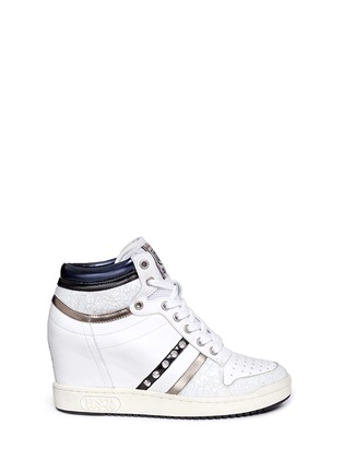 Main View - Click To Enlarge - Ash - 'Prince' stud high top leather wedge sneakers