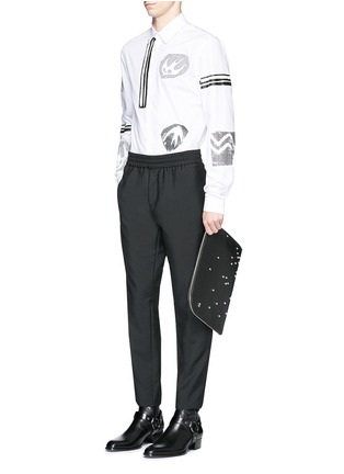 Figure View - Click To Enlarge - McQ Alexander McQueen - Swallow woodcut print poplin shirt