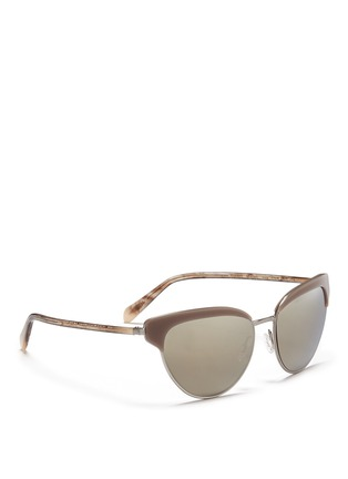 Figure View - Click To Enlarge - Oliver Peoples - 'Josa' acetate trim metal cat eye sunglasses