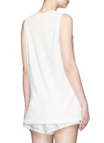 Ruffle silk panel sleeveless jersey top