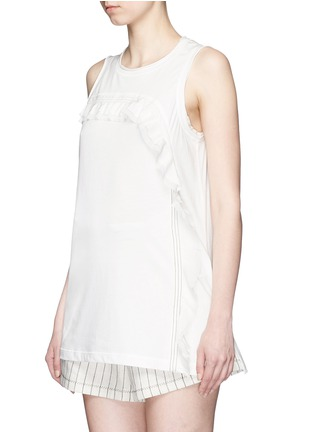 Front View - Click To Enlarge - 3.1 Phillip Lim - Ruffle silk panel sleeveless jersey top