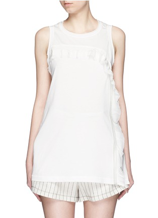 Main View - Click To Enlarge - 3.1 Phillip Lim - Ruffle silk panel sleeveless jersey top
