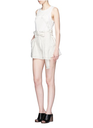 Figure View - Click To Enlarge - 3.1 Phillip Lim - Ruffle silk panel sleeveless jersey top