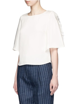 Front View - Click To Enlarge - 3.1 Phillip Lim - Ruffle sleeve silk boxy top