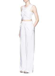 3.1 PHILLIP LIMKnot front pinstripe cropped tank top