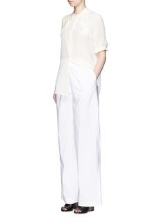 3.1 Phillip LimQuilted ruffle trim silk shirt