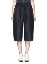 Paperbag waist silk-cotton parachute culottes