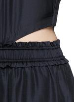 Paperbag waist silk-cotton tank jumpsuit