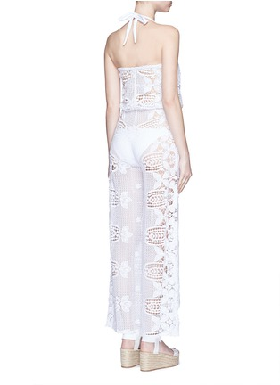 Back View - Click To Enlarge - Miguelina - 'Piper' strapless scalloped lace drawstring jumpsuit