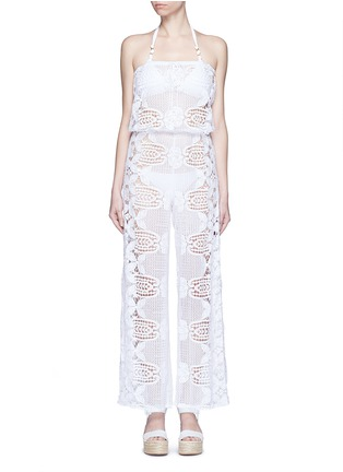 Main View - Click To Enlarge - Miguelina - 'Piper' strapless scalloped lace drawstring jumpsuit