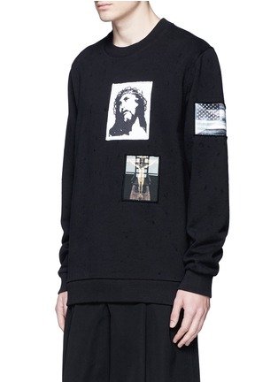 Front View - Click To Enlarge - Givenchy - Jesus patch distressed cotton sweatshirt
