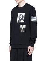 Jesus patch distressed cotton sweatshirt