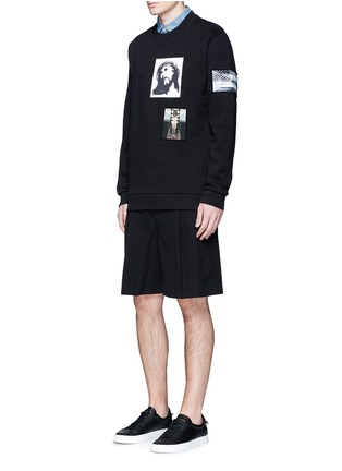 Figure View - Click To Enlarge - Givenchy - Jesus patch distressed cotton sweatshirt