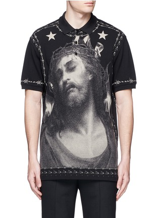 Main View - Click To Enlarge - Givenchy - Barb wire Jesus print polo shirt