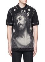 Barb wire Jesus print polo shirt