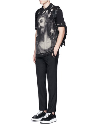 Givenchy-Barb wire Jesus print polo shirt