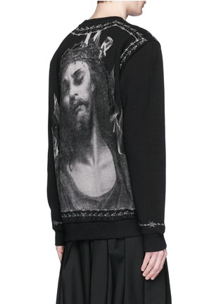 Back View - Click To Enlarge - Givenchy Beauty - Barb wire Jesus print sweatshirt