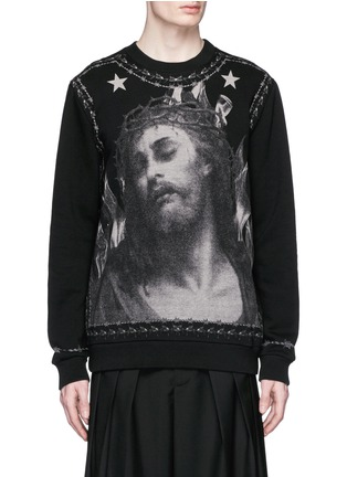 Main View - Click To Enlarge - Givenchy Beauty - Barb wire Jesus print sweatshirt