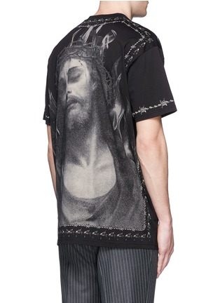 Back View - Click To Enlarge - Givenchy - Barb wire Jesus print T-shirt