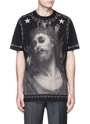 Main View - Click To Enlarge - Givenchy - Barb wire Jesus print T-shirt