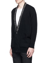 Chain strap front cashmere cardigan