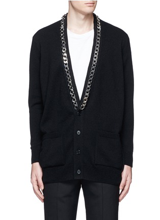 Main View - Click To Enlarge - Givenchy - Chain strap front cashmere cardigan