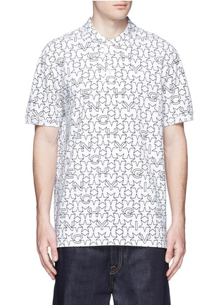 Main View - Click To Enlarge - Givenchy - Monogram print cotton polo shirt