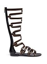 Geometric cutout leather gladiator sandals