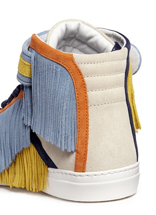 Detail View - Click To Enlarge - Pierre Hardy - Fringe strap suede high-top sneakers