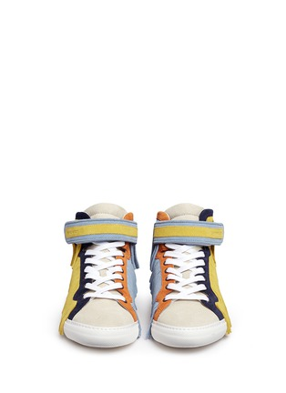 Front View - Click To Enlarge - Pierre Hardy - Fringe strap suede high-top sneakers