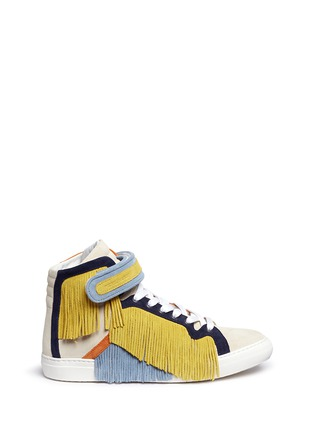 Main View - Click To Enlarge - Pierre Hardy - Fringe strap suede high-top sneakers
