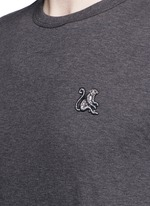 Monkey embellished patch embroidery cotton T-shirt