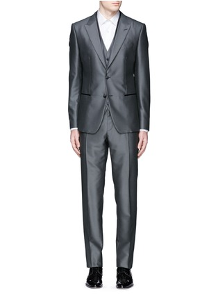 Main View - Click To Enlarge - Dolce & Gabbana - 'Sicilia' check jacquard three piece tuxedo suit