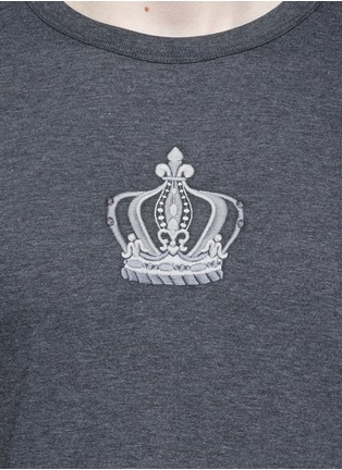 Detail View - Click To Enlarge - Dolce & Gabbana - Crown embroidery cotton T-shirt