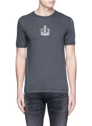 Main View - Click To Enlarge - Dolce & Gabbana - Crown embroidery cotton T-shirt