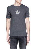 Crown embroidery cotton T-shirt