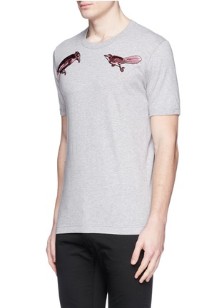 Front View - Click To Enlarge - Dolce & Gabbana - Bird patch embroidery cotton T-shirt