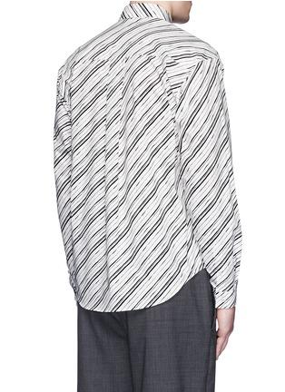 Back View - Click To Enlarge - Dolce & Gabbana - Diagonal stripe cotton poplin shirt