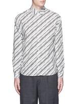 Diagonal stripe cotton poplin shirt