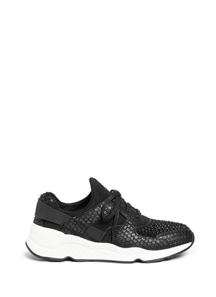 Main View - Click To Enlarge - Ash - 'Mood' crystal snakeskin effect neoprene sneakers