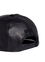 Logo embroidery leather snapback cap