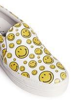 'Happy Smile' print leather skate slip-ons