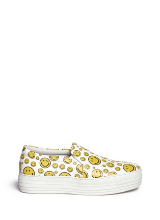 Main View - Click To Enlarge - Joshua Sanders - 'Happy Smile' print leather skate slip-ons