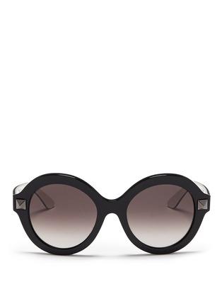 Main View - Click To Enlarge - Valentino - 'Rockstud' colourblock acetate sunglasses