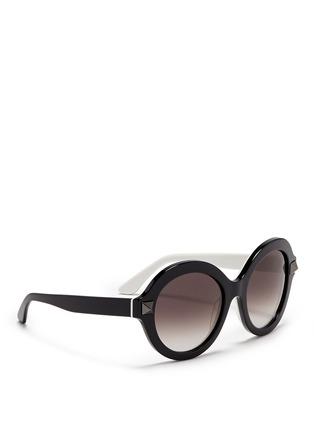 Figure View - Click To Enlarge - Valentino - 'Rockstud' colourblock acetate sunglasses