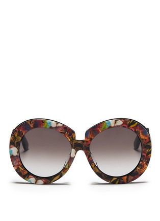Main View - Click To Enlarge - Valentino - 'Camubutterfly' oversize round acetate sunglasses